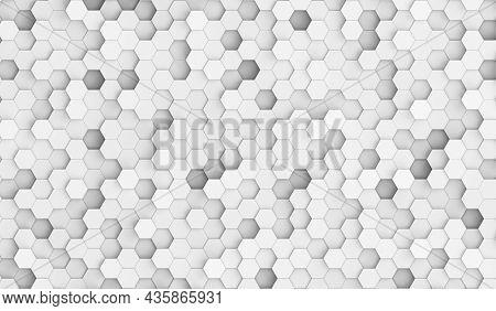 White hexes background texture. Hexagonal texture. 3d illustration