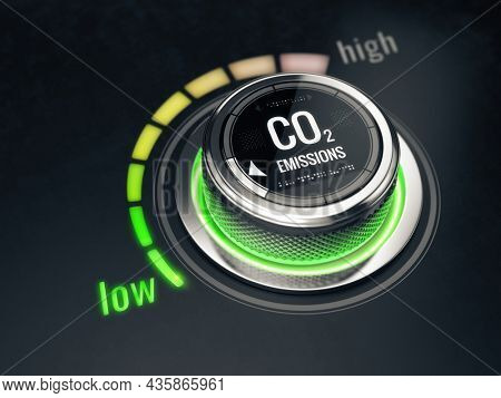 Reduce CO2 level concept. Carbon dioxide emissions control, CO2 level to the min position. 3d rendering