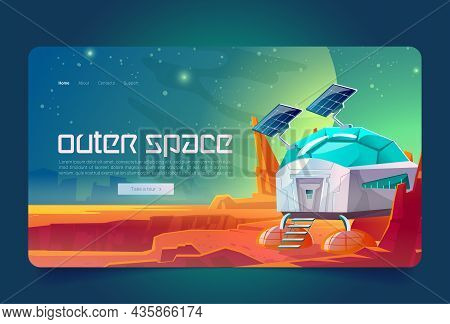 Outer Space Cartoon Landing Page, Scientific Station On Alien Planet Surface. Cosmos Colonization, B