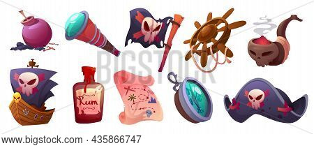 Pirate Icons With Map, Ship, Captain Hat, Flag With Skull And Compass. Vector Cartoon Set Of Nautica
