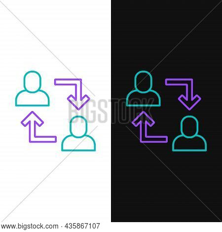 Line Project Team Base Icon Isolated On White And Black Background. Business Analysis And Planning,