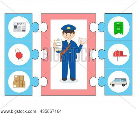 Game For Kids. Puzzle. Learning Cards. Professions. Postman. Preschool Worksheet Activity For Childr