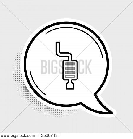 Line Car Muffler Icon Isolated On Grey Background. Exhaust Pipe. Colorful Outline Concept. Vector