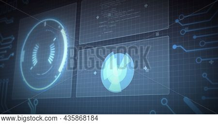 Image of data processing and scopes scanning on screens over grid. digital interface, global data processing and technology concept digitally generated image.
