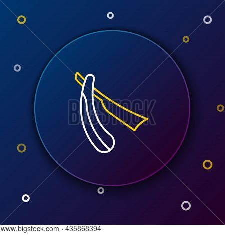 Line Straight Razor Icon Isolated On Blue Background. Barbershop Symbol. Colorful Outline Concept. V