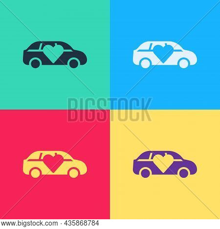Pop Art Luxury Limousine Car Icon Isolated On Color Background. For World Premiere Celebrities And G