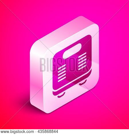 Isometric Bathroom Scales Icon Isolated On Pink Background. Weight Measure Equipment. Weight Scale F