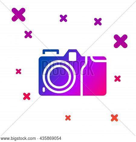 Color Photo Camera Icon Isolated On White Background. Foto Camera Icon. Gradient Random Dynamic Shap