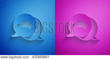 Paper Cut Car Service Icon Isolated On Blue And Purple Background. Auto Mechanic Service. Repair Ser