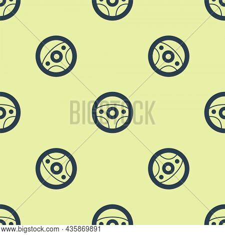 Blue Steering Wheel Icon Isolated Seamless Pattern On Yellow Background. Car Wheel Icon. Vector