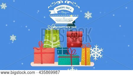 Image of merry christmas text over presents icons. christmas, winter, tradition and celebration concept digitally generated image.
