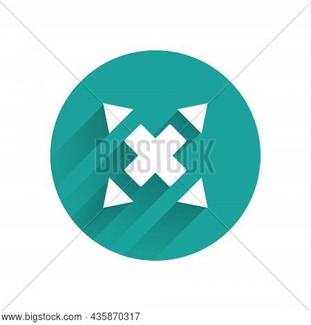 White Many Ways Directional Arrow Icon Isolated With Long Shadow Background. Green Circle Button. Ve