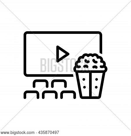 Black Line Icon For Intervals Movie Popcorn Audience Break Spectator Cinema-theatre Movie-house