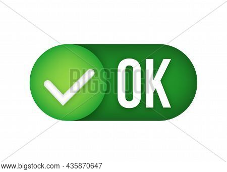 Ok Green Sign Icon For Web And App. Check Mark Sign. Vector Stock Illustration.