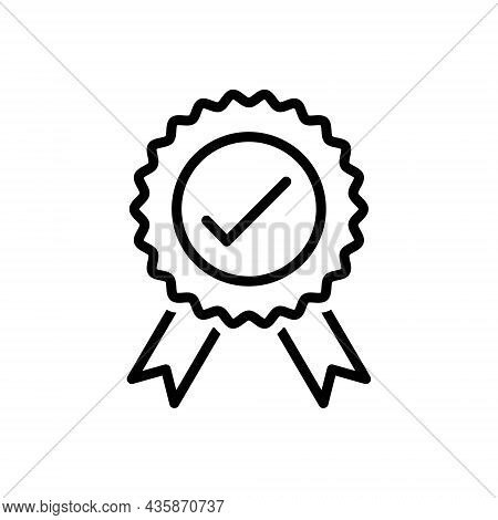 Black Line Icon For Officially Governmentally Certificate Stamp Award