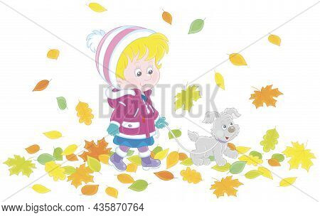 Cute Little Girl And Her Merry Pup Walking On Colorful Autumn Leaves Around A Park, Vector Cartoon I