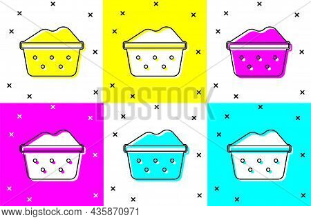Set Plastic Basin With Soap Suds Icon Isolated On Color Background. Bowl With Water. Washing Clothes