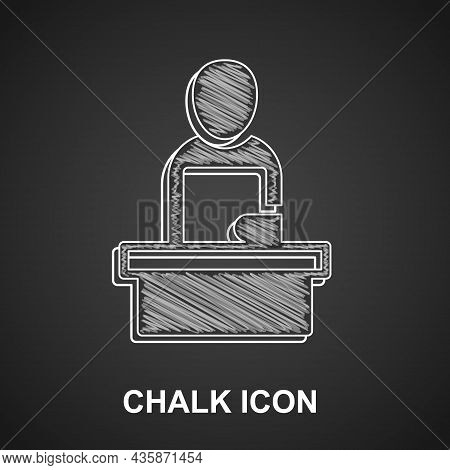 Chalk Breaking News Icon Isolated On Black Background. News On Television. News Anchor Broadcasting.