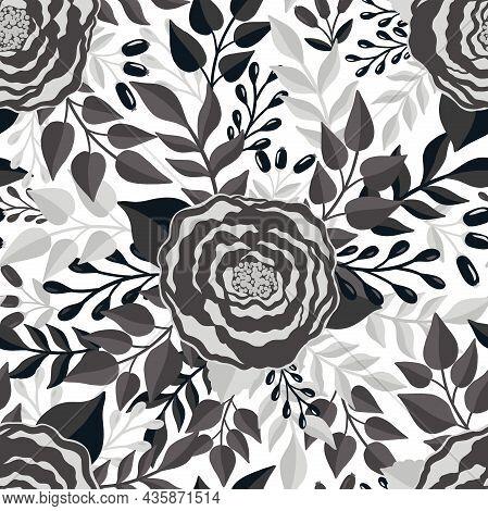 Seamless Pattern Monochrome Flower.elegant Floral Design.botanical Print. Fashion Print.