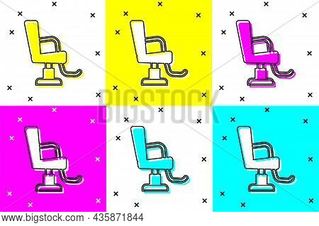 Set Barbershop Chair Icon Isolated On Color Background. Barber Armchair Sign. Vector