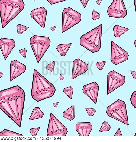 Seamless Pattern With Crystals. Patern In Pop Art Style. Glamorous Pink Crystals On A Blue Backgroun