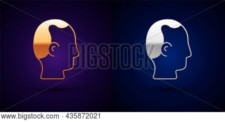 Gold And Silver Baldness Icon Isolated On Black Background. Alopecia. Vector