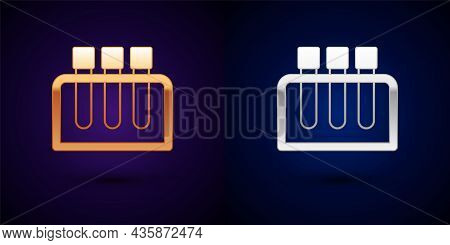 Gold And Silver Test Tube And Flask Chemical Laboratory Test Icon Isolated On Black Background. Labo