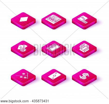 Set Stick For Chips, Playing Card With Diamonds Symbol, Cards And Glass Of Whiskey Ice Cubes, Deck P