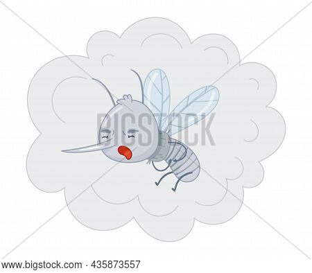 Cute Mosquito Flying In Cloud Of Insecticidal Spray. Adorable Parasitic Insect Funny Character Carto