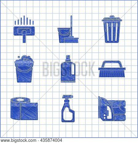 Set Plastic Bottles For Liquid Dishwashing Liquid, Electric Iron And Towel, Brush Cleaning, Toilet P