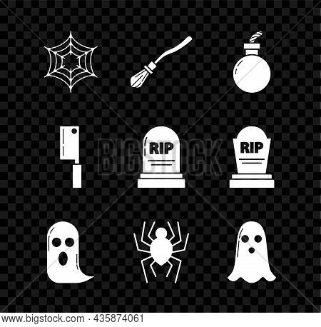 Set Spider Web, Witches Broom, Bomb Ready To Explode, Ghost, Meat Chopper And Tombstone With Rip Ico