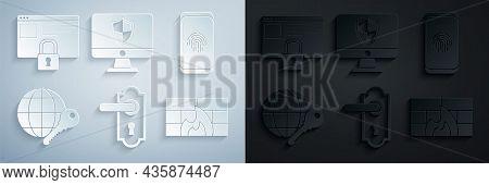 Set Door Handle, Smartphone With Fingerprint Scanner, Globe Key, Firewall, Security Wall, Computer M