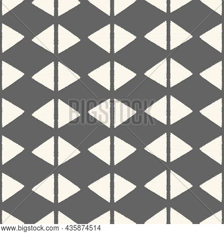 Abstract Geometric Pattern Background. Hand Drawn Textured Seamless Repeat Of Triangle And Diamond S