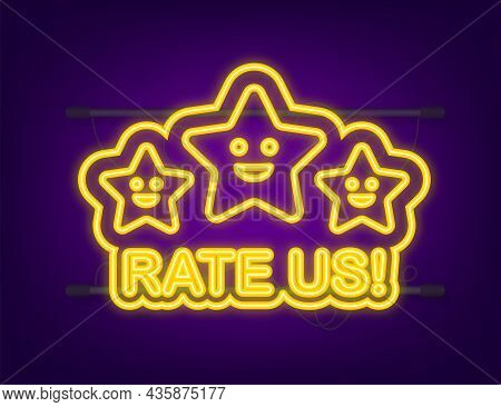 Rating Stars. Flat Design. User Reviews, Rating, Classification Concept. Neon Icon. Enjoying The App