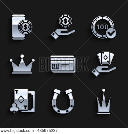 Set Credit Card, Horseshoe, Crown, Hand Holding Deck Of Playing Cards, Playing With Diamonds, Casino