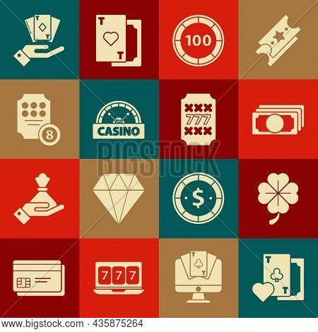 Set Playing Card With Clubs Symbol, Stacks Paper Money Cash, Casino Chips, Signboard, Online Slot Ma