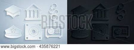 Set Safe, Handcuffs, Police Cap With Cockade, Courthouse Building And Graduation Icon. Vector