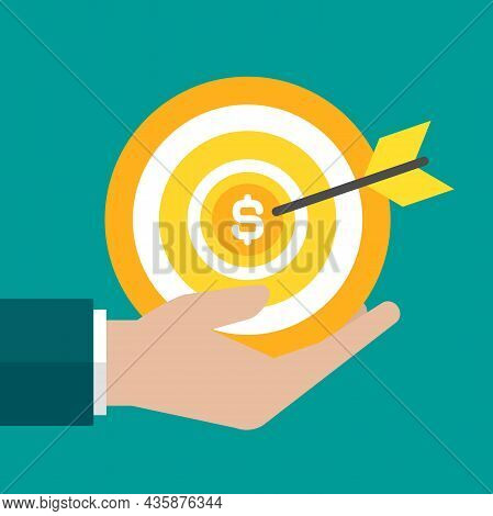 Businessman Hand With Golden Archery Money Target And Arrow. Achieve Goals Or Dreams Concept. Dartbo