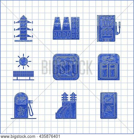 Set Electric Light Switch, Nuclear Power Plant, Electrical Cabinet, Battery Pack, Car Charging Stati