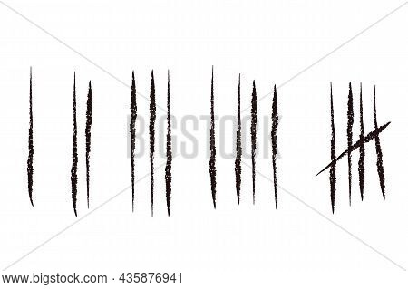 Set Tally Marks Lines Or Sticks Hand Drawn Isolated On White Background. Counting Waiting Number On
