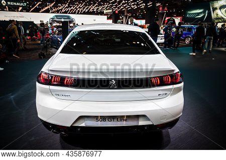 Peugeot 508 Gt Line Car Showcased At The Paris Motor Show. Paris, France - October 2, 2018.