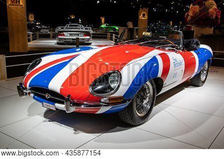 Jaguar E-type 1967 Retro Sports Car Showcased At The Autosalon 2020 Motor Show. Brussels, Belgium -