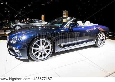 Bentley Continental Gtc V8 Convertible Luxury Car At The Autosalon 2020 Motor Show. Brussels, Belgiu