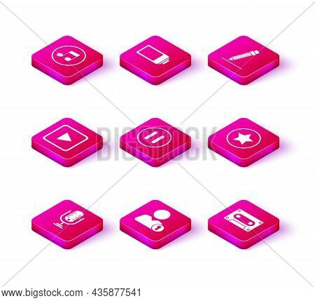 Set Microphone, Add To Friend, Play In Square, Pause Button, Retro Audio Cassette Tape, Star, Pencil