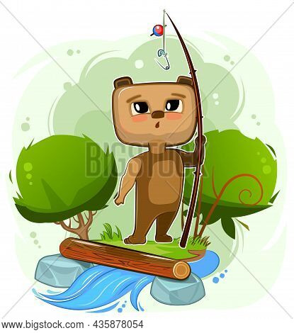 Funny Cute Baby Teddy Bear Is Fishing On The Bank Of The Stream. River. No Fish Is Caught. Naive Ani