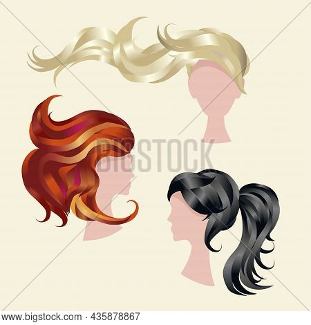 Vector Set Of Icons - Beautiful Women With Hairstyles And Different Hair Color. Hair Coloring. Beaut