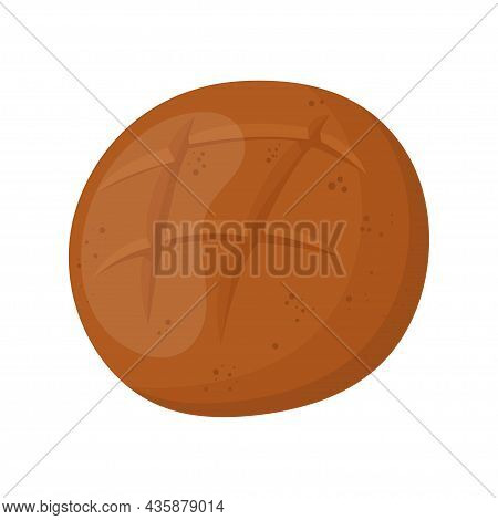 Loaf Of Rustic Rye Bread. Homemade Long Loaf. Bakery Item, Pastry. Vector Illustration Isolated On W
