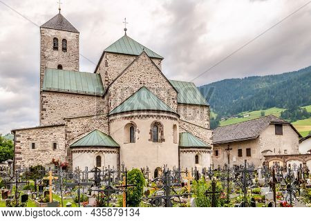 San Candido,italy - July 13,2021 - Abbey Church In San Candido. San Candido Is Located In The Puster