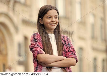 Confident Child With Happy Look Smile Keeping Arms Crossed In Casual Fashion Style Outdoors, Confide