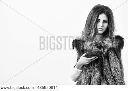 Elite Coffee Concept. Pretty Lady Drink Coffee Little Ceramic Cup White Background. Enjoy Luxurious